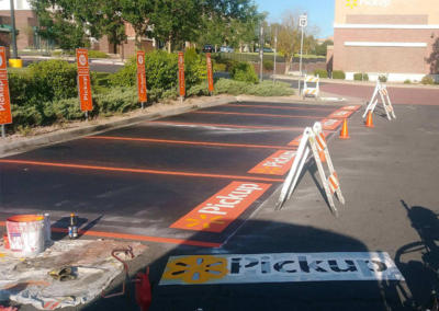 Pavement Striping at Walmart by Black Pearl Paving
